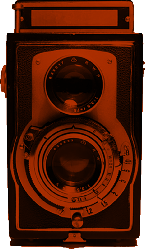 Oldschool camera with red silhoutte