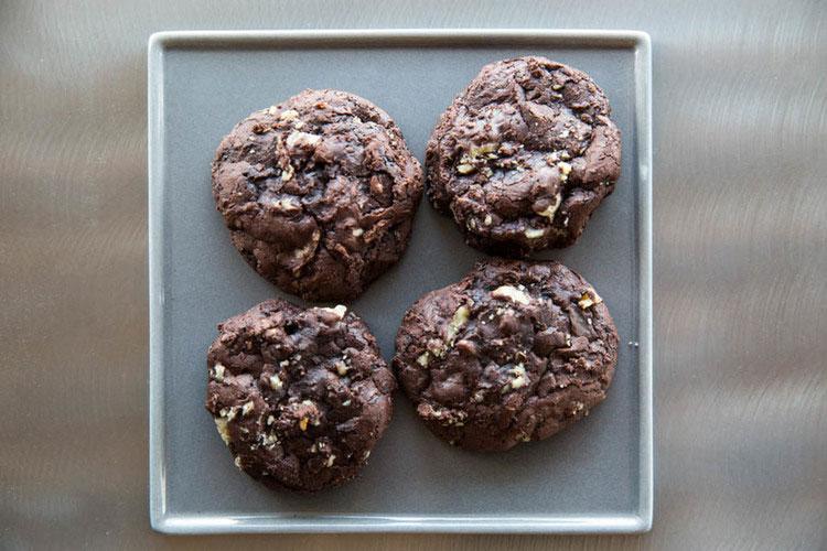 Four chocolate cookies